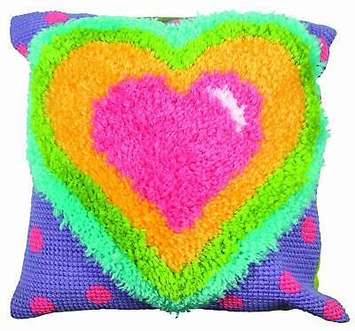 Funky Heart Latch Hook Kit & Chunky Cross Stich Kit 40x40cm By Anchor QE2031