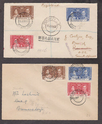 Swaziland - 1937 Two 1st day Coronation registered covers from different towns