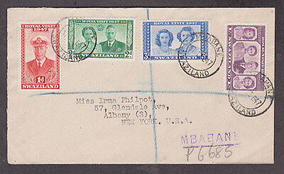 Swaziland - 1947 1st day Royal Visit registered cover mailed to USA