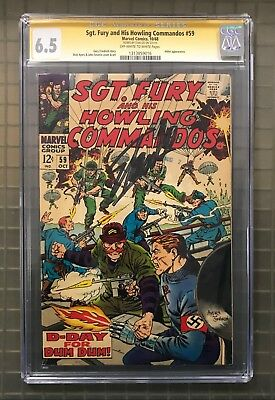 Stan Lee Signed SGT. FURY & HIS HOWLING COMMANDOS #59 AUTO Marvel 1968 CGC 6.5