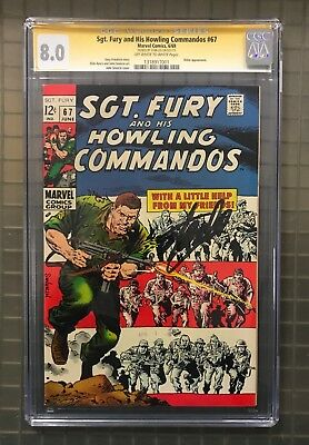 Stan Lee Signed SGT. FURY & HIS HOWLING COMMANDOS #67 AUTO Marvel 1969 CGC 8.0