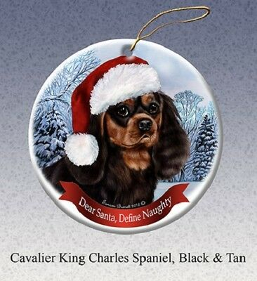 Define Naughty Ornament - Black and Tan Cavalier King Charles Spaniel 064
