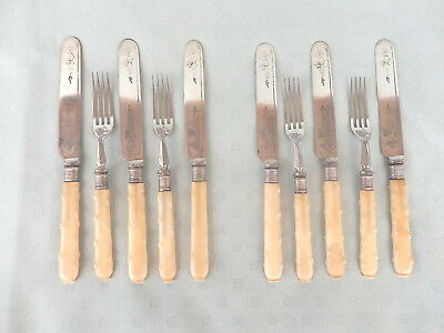 SET of  19th Century   6  KNIVES and 4  FORKS    Raised  KNOB  Handles   VINTAGE