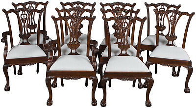 Antique Style Set of Ten Ball and Claw Foot Mahogany Large Dining Room Chairs
