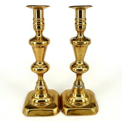 Pair Of Vintage Victorian Brass Candlesticks 10 Inches