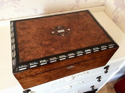 A Fab Large Victorian C1870 Burr Walnut Writing Slope Box With M.O.P Etc Inlay