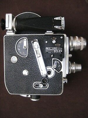 Vintage Paillard Bolex 16mm Movie Camera With 2 Lenses, Case, Works