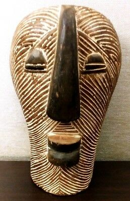 Vintage AFRICAN Old CARVED Wood TRIBAL ART MASK Statue