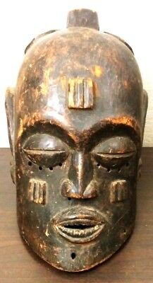 Vintage AFRICAN Old CARVED Wood MOHAWK MAN Full MASK Head TRIBAL ART MASK Statue