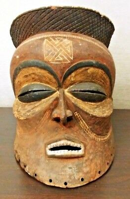 Antique AFRICAN Old CARVED Wood TRIBAL TATTOO Face ART Full MASK MAN HEAD Statue