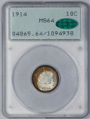 1914 Barber Dime 10C Pcgs & Cac Certified Ms 64 Amazing Color Rattler Unc (938)