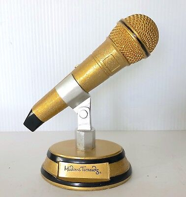 Gold Sparkle Microphone Music Trophy Award, Heavy Cast Resin Actual Size Karaoke