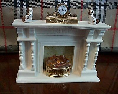dollshouse column fireplace 12v light up grate 1/12 scale miniature ornaments