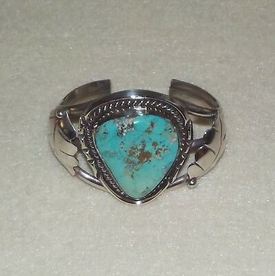 Vintage Native American Navajo Turquoise & Silver Cuff Bracelet with Leaf Design