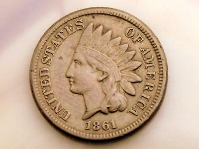 """1861 Indian Head Cent Estate Coin - Vf To Xf With Full """"liberty"""""""