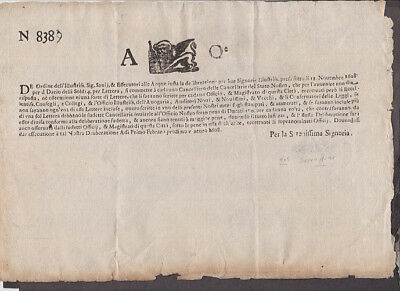 Italy - 1700's Document with Lion of Venice logo