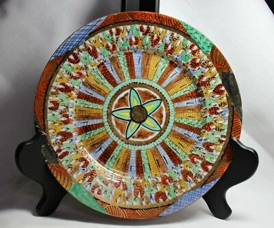 Antique Japanese Satsuma Plate / Dish With 1000 Faces ~ Signed