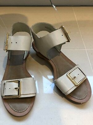 ddcbae71304 Brand new Clarks Off White Leather Women s Low Heel Sandals with buckles  Size 5