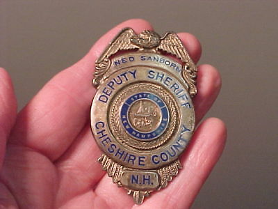 Antique Obsolete Deputy Sheriff Cheshire County NH Police Badge..Identified.