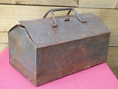 Vintage Talco Blue Metal Tool Box Spanner Hammer Screwdriver Storage Lunchbox