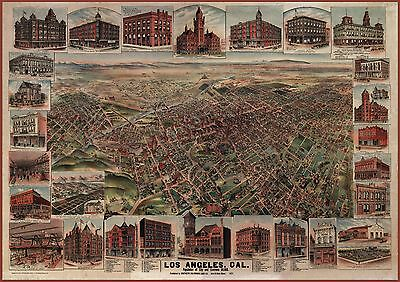 """1891 Los Angeles California, Old Vintage City View,  36""""x24"""" ART,  Beautiful"""