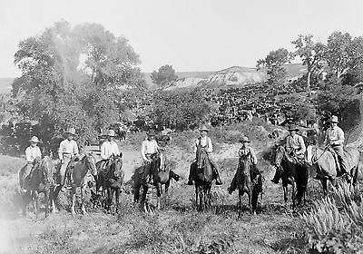 """1901 photo Group of TEXAS COWBOYS on horse back 20""""x16"""" print, WESTERN"""