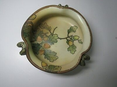 Antique Signed Nippon Hand Painted Acorn Three Handle Dish Bowl