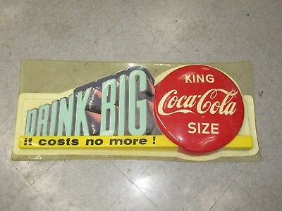 "Vintage COCA COLA Plastic Sign ""King Coca Cola Size -  Drink Big"""