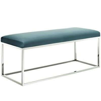 Modway Furniture Gaze White Fabric Bench, Silver Sea - EEI-2869-SLV-SEA