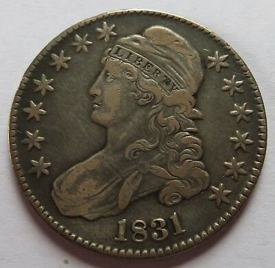 1831 Capped Bust Silver Half Dollar - VF, Vintage Early Date 50C coin (151735P)