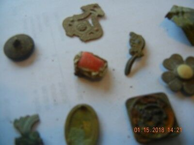 Metal detector find lot of dug jewelry pins ring with jewel a foot misc unknown