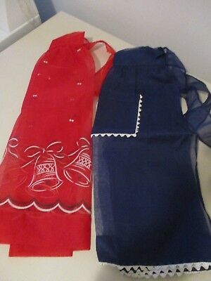 Lot of Two Vintage Sheer Half Aprons Christmas Red & Blue w/ Trim