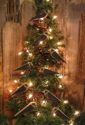 = 9 Primitive Wood Farmhouse CROWS Christmas Harvest Ornaments Ornies