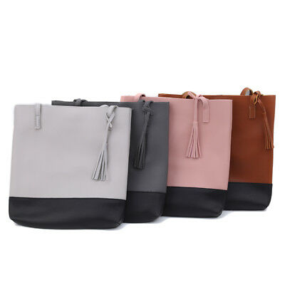 Women Girls Tassel Decorated Bucket Shape PU Leather Handbag Shoulder Bag B