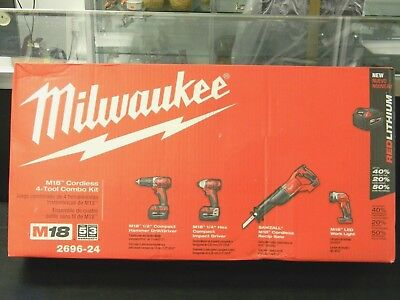 New Milwaukee 2696-24 M18 RED Lithium  Ion 4 Tool Combo Kit  QUIK SHIPPING