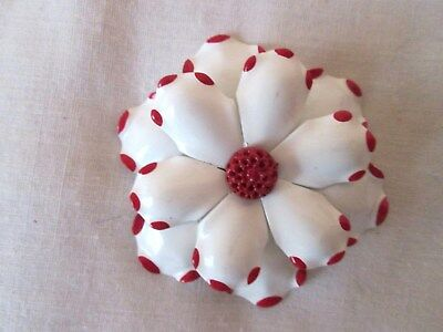 Vintage Enamel Flower Metal Brooch Pin White W/ Red Trim Bridal Bouquets