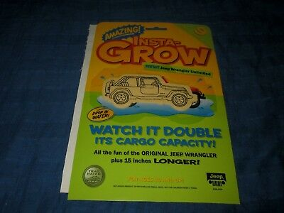 Vintage 2004 Jeep Wrangler Unlimited Amazing Instagrow Promo Novelty-New In Pack
