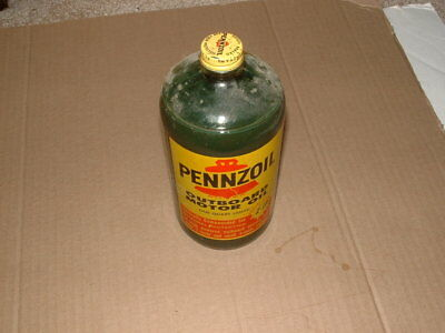 Vintage Glass Bottle of Pennzoil Outboard Motor Oil New Old Stock