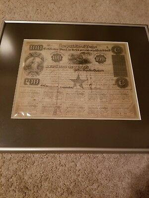 1840 REPUBLIC OF TEXAS $100 STOCK CERTIFICATE - framed