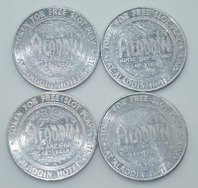 Set of 4 Aladdin Free Slot Play Casino Token Las Vegas Nevada 40mm