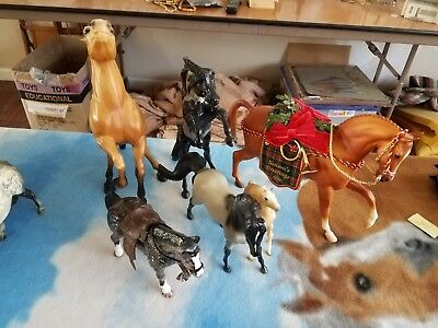 6 vintage collector Buckskin Mustang mustang family One dressed as holiday horse
