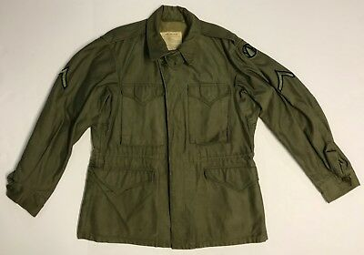 Original WWII M-1943 Field Jacket, Size 36R, with 89th Div. & PFC Patches