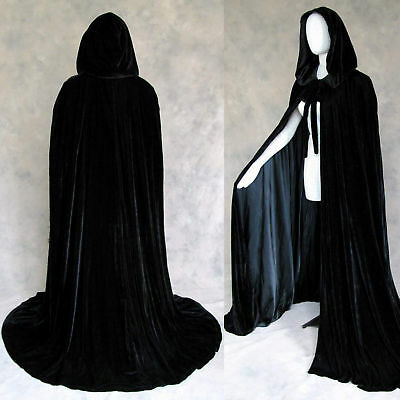 Lined Black Velvet Cloak Cape Game of Thrones Wedding Wicca GOT LARP SCA Costume