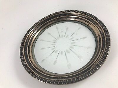 Vintage Sterling Silver & Glass Pin Tray