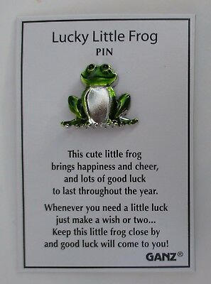 v Lucky little frog PIN lapel Ganz brings happiness cheer good luck make a wish