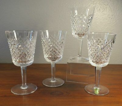 FOUR Waterford Crystal Alana Water Goblet Glasses Stemware
