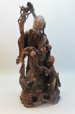 "Huge 33"" Antique CHINESE Carved Wood DEITY STATUE 'God of Longevity'  c. 1930s"