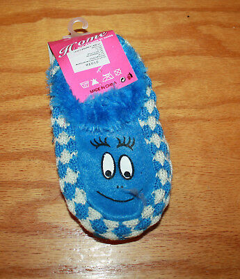Kids Smiley Face Slipper Socks  with Gripper Bottoms  Blue  Free Shipping