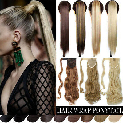 100% Real Thick Clip In As Human Remy Hair Extensions Pony Tail Wrap Ponytail FH