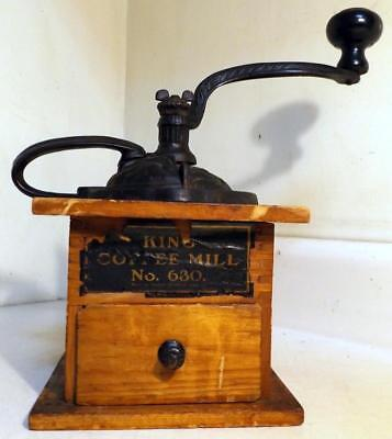 Antique Wood & Cast Iron KING Home Coffee Mill w Orig Paper Label Works c1910s